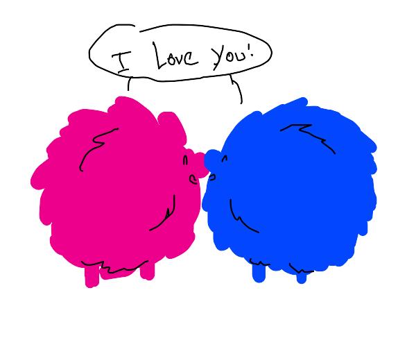 2 fluffy creatures touching nosesandsayingily