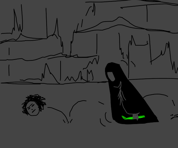 hooded figure bearing celery chases head