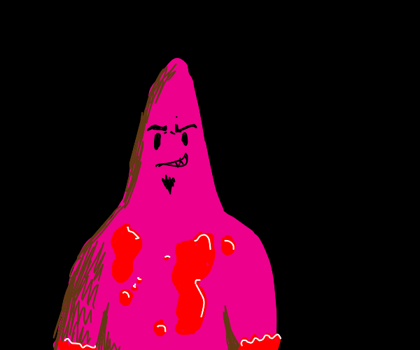 evil patric covered in blood