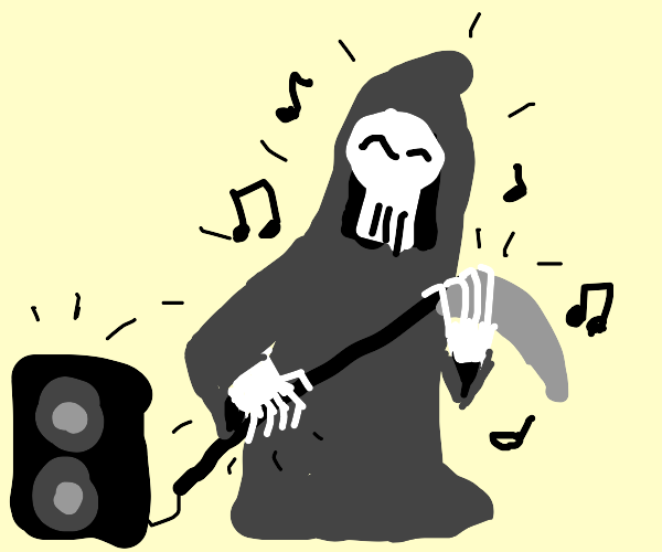 Grim Reaper playing his scythe like a guitar