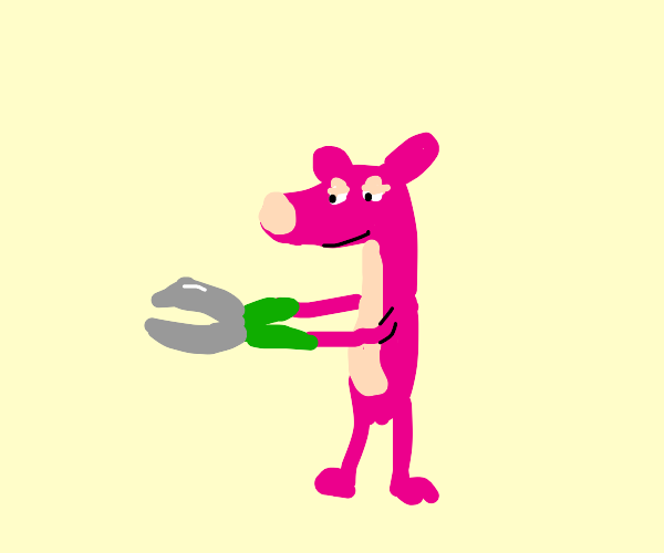 Pink panther using clippers