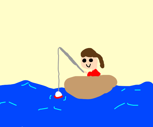 A girl goes fishing in a boat