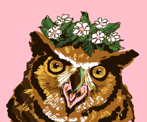 A Beautiful Owl with a Flower Crown