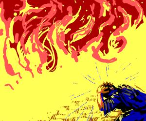 red fire gives man a headache