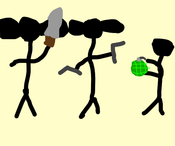 Three stick figures with long ears fighting
