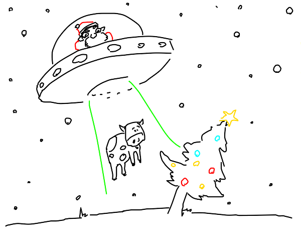 Santa delivers cow with a ufo