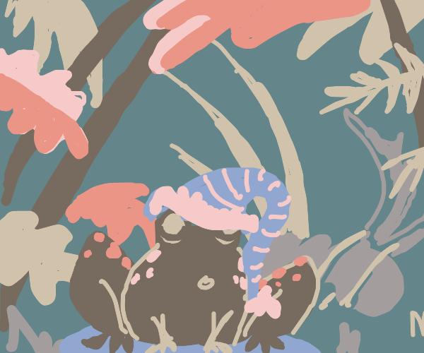 frog in a jungle wearing a nightcap