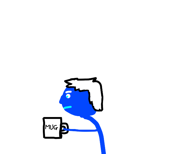 blue guy with white hair and a mug