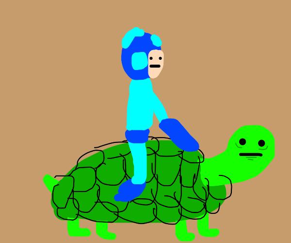 Mega Man Riding Turtle