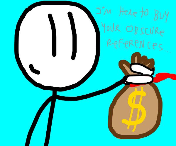 Henry Stickmin handing a bag of money to you