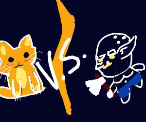 Cat vs blue goblin