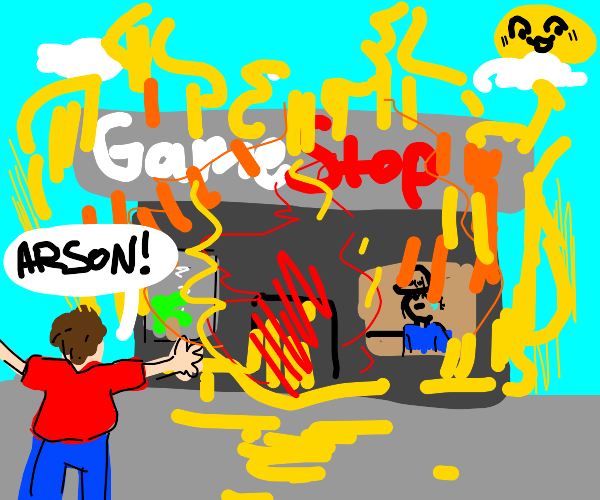 A person lighting Game Stop on fire.