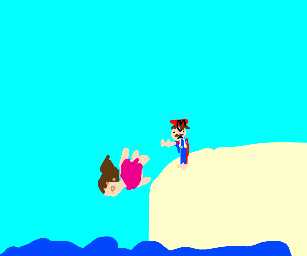 Mario pushes fat girl off low cliff