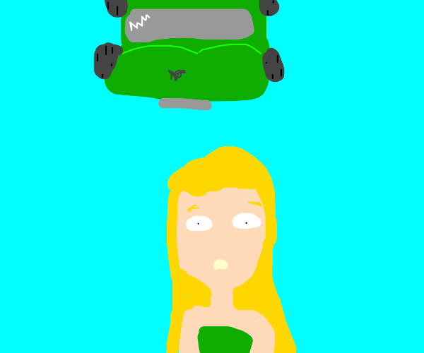 a person about to be run over by a green car!