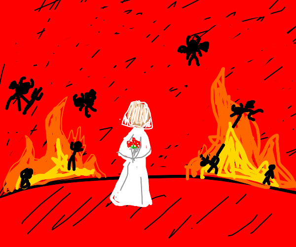 woman dressed in white looks at you in hell