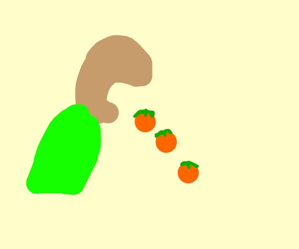 Violently vomiting out mini pumpkins