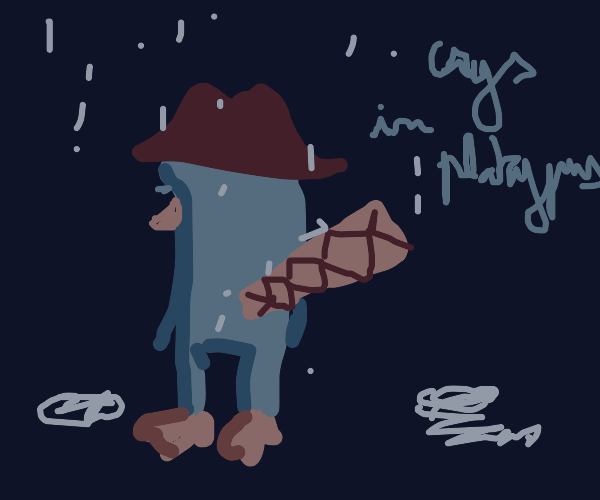 Agent P crying in rain (Perry the Platypus)