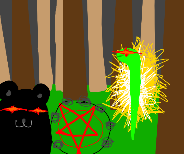 Bear and snake prepare satanic ritual
