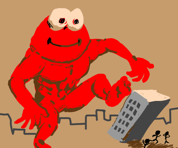 Giant Elmo kicks tall building onto tiny folk