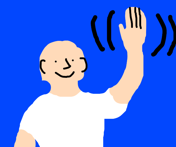 Bald man waves hello