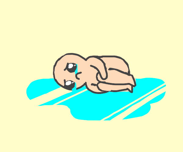 Crying Man lying in his tears