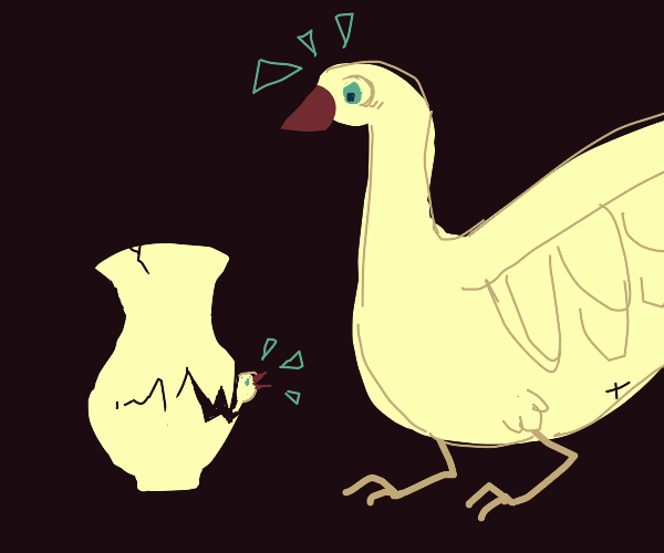 goose is horrified by its vase-shaped egg