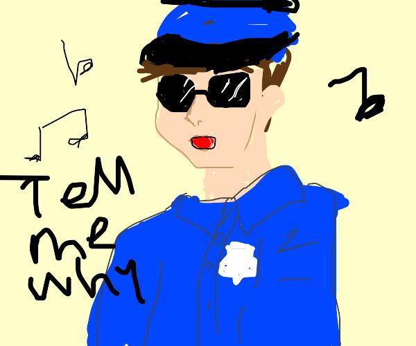 Police Officer singing Backstreet Boys