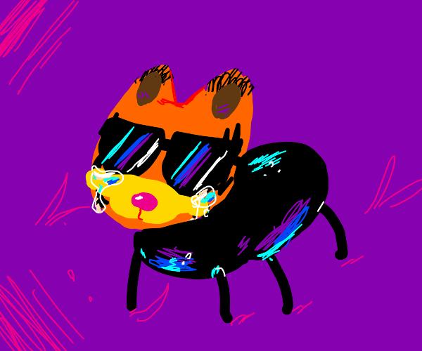 Garfield the ant cries & wears sunglasses