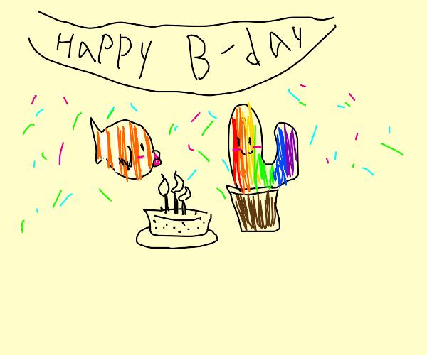nemo and a rainbow cactus celebrate birthday