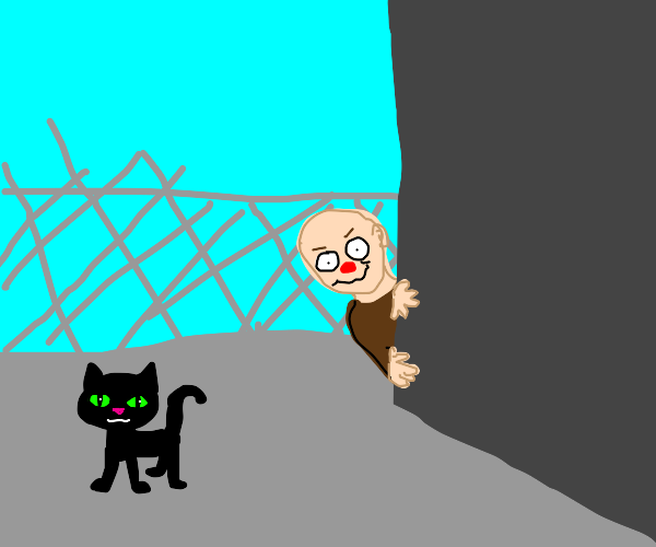 Black cat watched by weird man