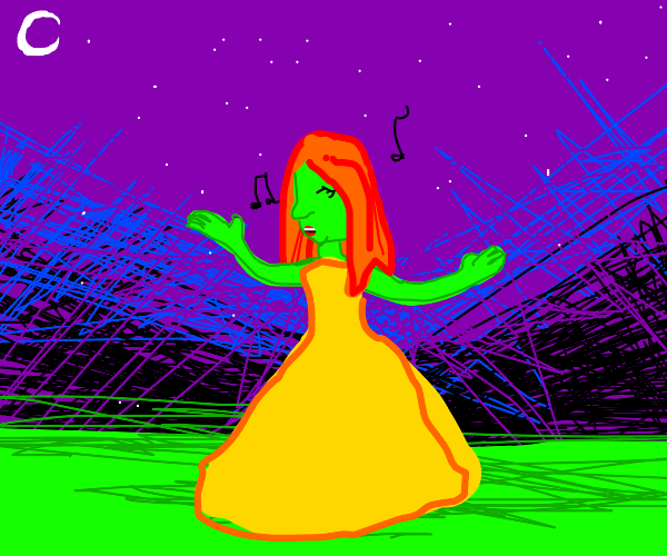 Red-haired witch singing