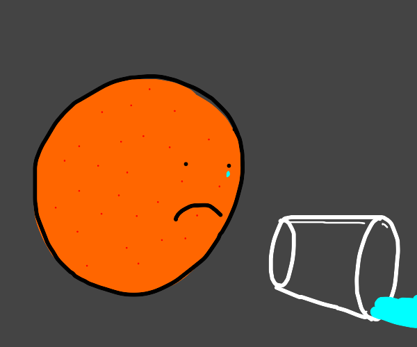 Orange is sad he spilled his glass of water