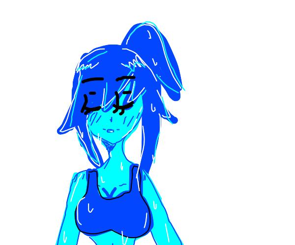 Blue skinned bikini girl