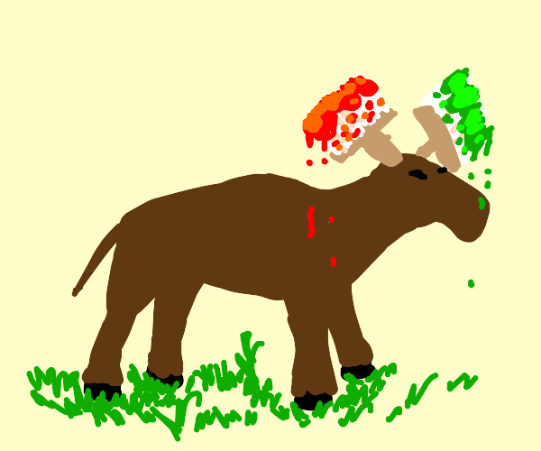 Moose with paintbrush on head