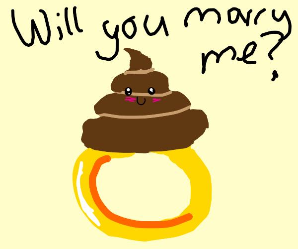 Happy poop wedding ring.