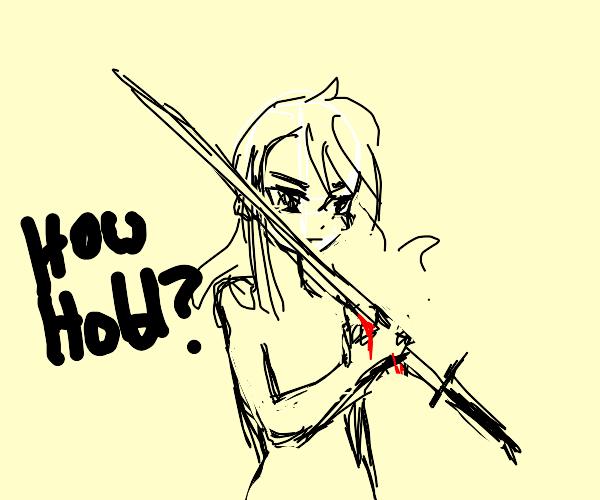 Anime girl holds huge katana by the blade