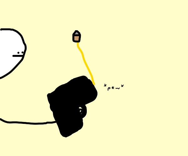 gun shooting bullet sideways