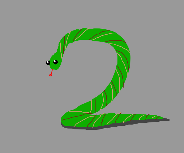 snake shaped like the number Two
