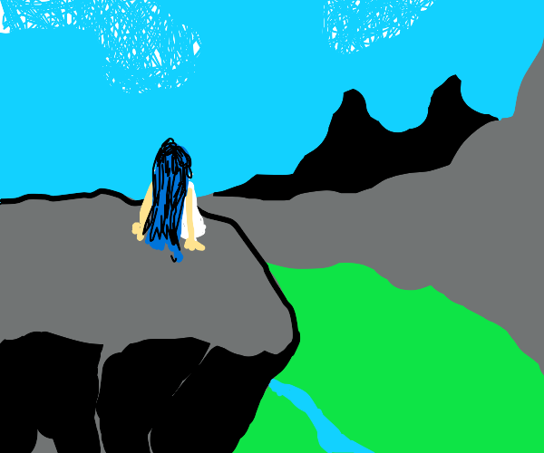 blue haired lady sits on the edge of a cliff