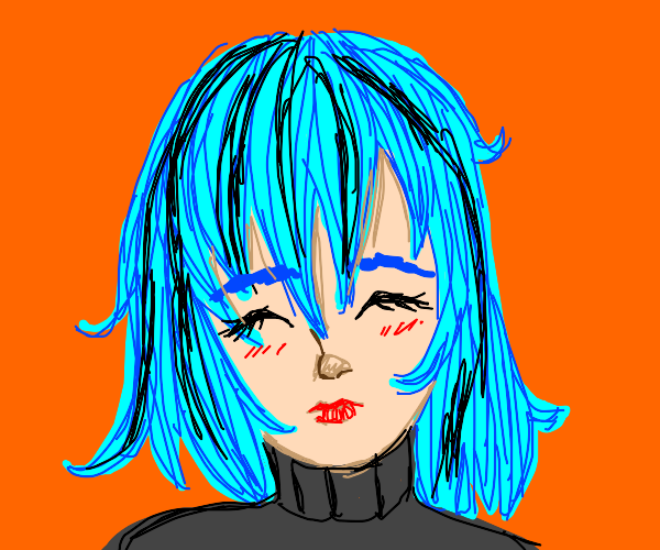 Lady with blue and black hair