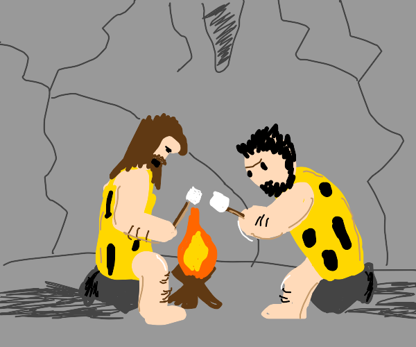 2 cavemen in cave roasting smores 'round fire