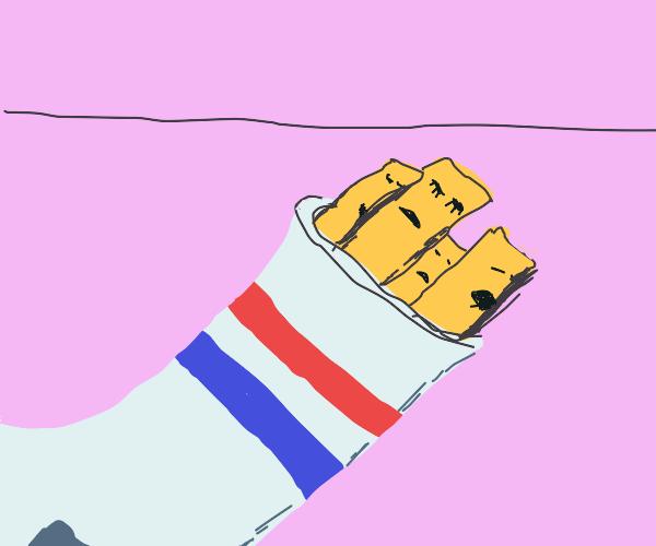 Fries sleepin in a sock