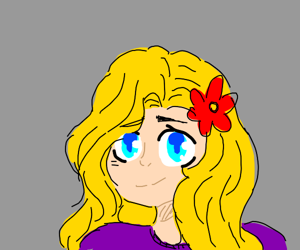 Blond anime girl with red flower in hair