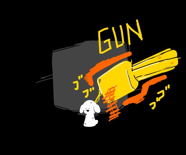 machine gun shots out of innocent pup's back