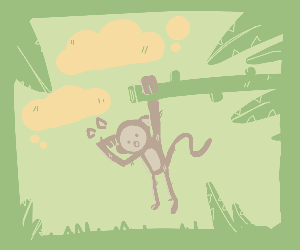 Monkey climbs a tree in the jungle