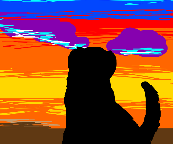 Puppo's silhouette in the sunrise
