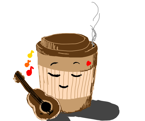 cute coffee plays guitar