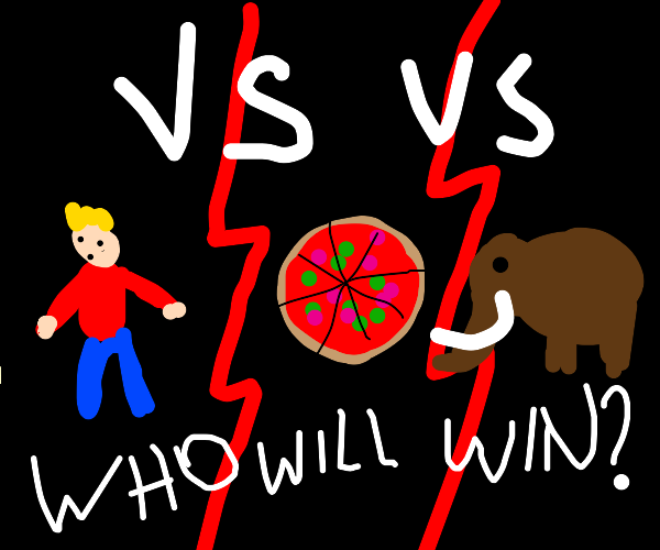 Man vs Pizza vs Mamooth,Who will win?