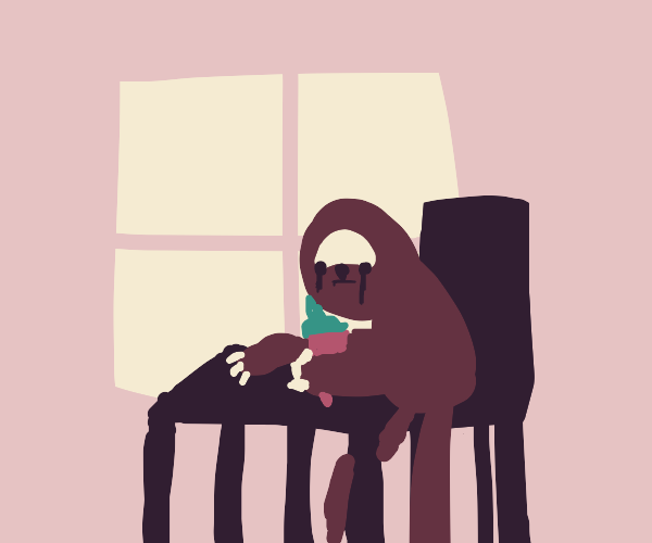 A sloth eating ice-cream in a cafe