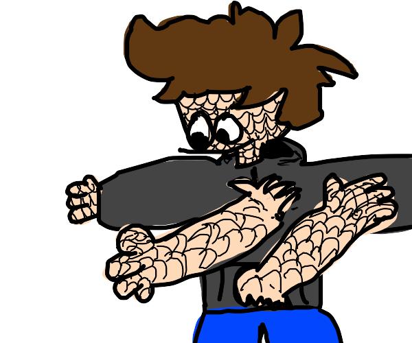 Happy, scaley man has arms on his torso!